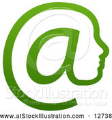 Vector Illustration of a Gradient Green Profiled Face in an Email Arobase at Symbol by AtStockIllustration