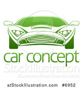 Vector Illustration of a Gradient Green Sports Car over Sample Text by AtStockIllustration