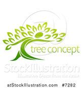 Vector Illustration of a Gradient Green Tree Man with Sample Text by AtStockIllustration