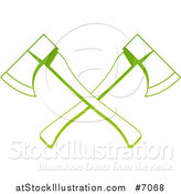 Vector Illustration of a Gradient Green Tree Surgeon Logo of Crossed Axes by AtStockIllustration