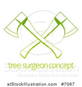 Vector Illustration of a Gradient Green Tree Surgeon Logo of Crossed Axes over Sample Text by AtStockIllustration