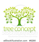 Vector Illustration of a Gradient Green Tree with Concept Text by AtStockIllustration