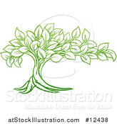Vector Illustration of a Gradient Green Tree with Leaves by AtStockIllustration