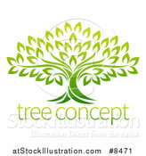 Vector Illustration of a Gradient Mature Green Tree with Sample Text by AtStockIllustration