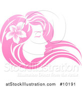 Vector Illustration of a Gradient Pink Beatiful Woman's Face in Profile, with Long Hair and a Flower by AtStockIllustration