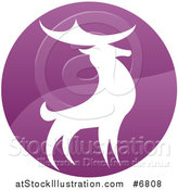 Vector Illustration of a Gradient Purple Deer Stag Circle by AtStockIllustration