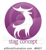 Vector Illustration of a Gradient Purple Deer Stag Circle over Sample Text by AtStockIllustration