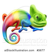 Vector Illustration of a Gradient Rainbow Chameleon Lizard by AtStockIllustration