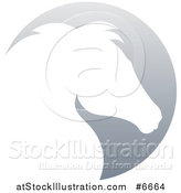 Vector Illustration of a Gradient White Horse Head Silhouetted in a Gray Circle by AtStockIllustration