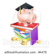 Vector Illustration of a Graduate Piggy Bank on a Pile of Books over Coins by AtStockIllustration