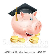 Vector Illustration of a Graduate Piggy Bank with Gold Coins by AtStockIllustration