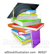 Vector Illustration of a Graduation Cap on a Stack of Colorful School Books by AtStockIllustration