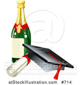Vector Illustration of a Graduation Cap, Red Tassel, Diploma and Wine Bottle by AtStockIllustration