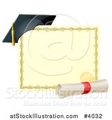 Vector Illustration of a Graduation Cap Resting on a Certificate with a Diploma Scroll by AtStockIllustration