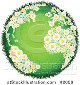 Vector Illustration of a Grassy Globe with Floral Continents by AtStockIllustration