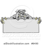 Vector Illustration of a Gray Aggressive Bulldog Monster Mascot Holding a Blank Sign by AtStockIllustration