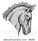 Vector Illustration of a Gray Aggressive Horse Mascot Head by AtStockIllustration