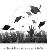 Vector Illustration of a Gray and Black Silhouetted Graduation Crowd Tossing up Their Mortar Board Caps by AtStockIllustration