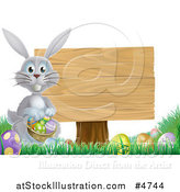 Vector Illustration of a Gray Bunny by a Wood Sign and Easter Eggs by AtStockIllustration