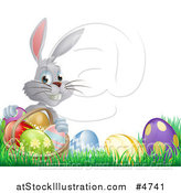 Vector Illustration of a Gray Bunny Holding Basket by Easter Eggs by AtStockIllustration