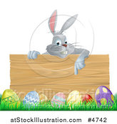 Vector Illustration of a Gray Bunny over a Wood Sign and Easter Eggs by AtStockIllustration