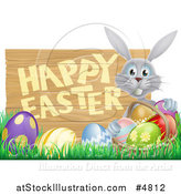 Vector Illustration of a Gray Bunny with a Basket and Eggs in Grass, by a Happy Easter Sign by AtStockIllustration