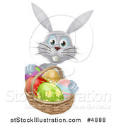Vector Illustration of a Gray Bunny with Easter Eggs and a Basket by AtStockIllustration