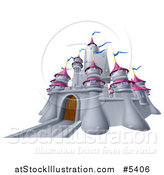 Vector Illustration of a Gray Castle with Pink Turrets and Blue Flags by AtStockIllustration