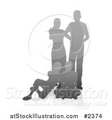 Vector Illustration of a Gray Gradient Silhouetted Family with the Parents Standing and Children Sitting by AtStockIllustration