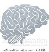 Vector Illustration of a Gray Human Brain with Electrical Circuits by AtStockIllustration