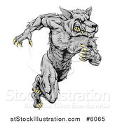 Vector Illustration of a Gray Muscular Wolf Man Sprinting by AtStockIllustration