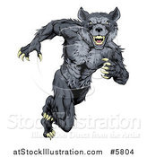 Vector Illustration of a Gray Muscular Wolf Man Sprinting or Running Upright by AtStockIllustration