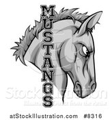 Vector Illustration of a Gray Mustang Horse Mascot with Text by AtStockIllustration