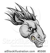 Vector Illustration of a Gray Snarling Horse Mascot Head by AtStockIllustration