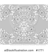Vector Illustration of a Gray Victorian Floral Styled Seamless Background by AtStockIllustration