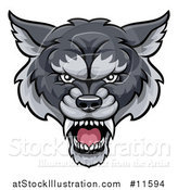 Vector Illustration of a Gray Wolf Mascot Head by AtStockIllustration