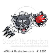 Vector Illustration of a Gray Wolf Slashing Through a Wall with a Cricket Ball by AtStockIllustration