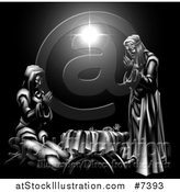 Vector Illustration of a Grayscale 3d Mary and Joseph Praying over Baby Jesus and the Star of Bethlehem 2 by AtStockIllustration