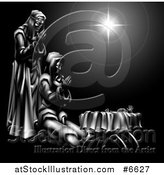 Vector Illustration of a Grayscale 3d Mary and Joseph Praying over Baby Jesus and the Star of Bethlehem by AtStockIllustration