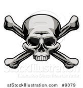 Vector Illustration of a Grayscale, Jolly Roger Pirate Skull over Cross Bones by AtStockIllustration