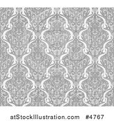 Vector Illustration of a Grayscale Seamless Art Nouveau Pattern by AtStockIllustration