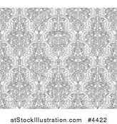Vector Illustration of a Grayscale Seamless Art Nouveau Vintage Pattern by AtStockIllustration