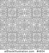 Vector Illustration of a Grayscale Seamless Intricate Middle Eastern Motif Background Pattern by AtStockIllustration