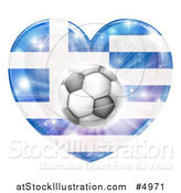 Vector Illustration of a Greek Flag Heart and Soccer Ball by AtStockIllustration