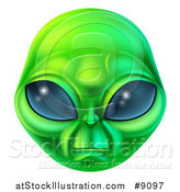 Vector Illustration of a Green Alien Face by AtStockIllustration