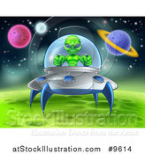 Vector Illustration of a Green Alien Landing a Ufo on a Green Planet or Moon by AtStockIllustration