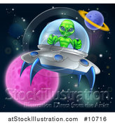 Vector Illustration of a Green Alien Steering a Ufo in Outer Space by AtStockIllustration