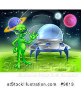 Vector Illustration of a Green Alien Waving by a Ufo on a Green Planet or Moon by AtStockIllustration