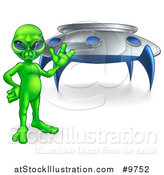 Vector Illustration of a Green Alien Waving or Presenting by a UFO by AtStockIllustration