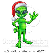 Vector Illustration of a Green Alien Wearing a Christmas Santa Hat and Waving by AtStockIllustration